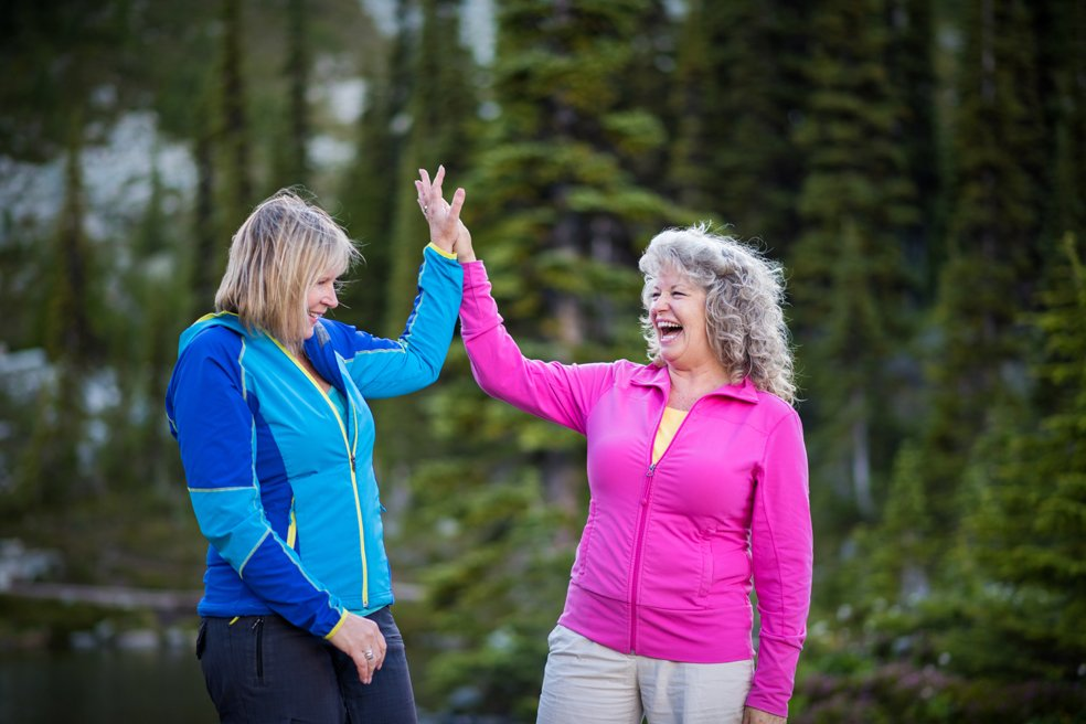 Senior women enjoying a hike in the moutains